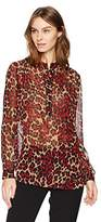 Anne Klein Women's Animal Printed Long Sleeve Blouse