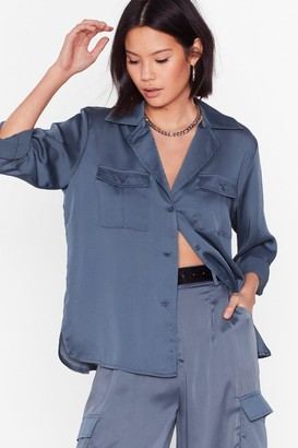 Nasty Gal Womens This is How It Works Satin Utility Shirt - Blue