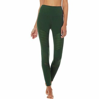 Alo Yoga ALO High Waisted Moto Leggings Forest/Forest Glossy XS