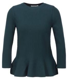BOSS Slim-fit sweater with peplum hem and crew neckline