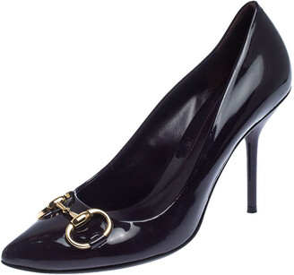 Gucci Purple Patent Leather Horsebit Pointed Toe Pumps Size 37.5