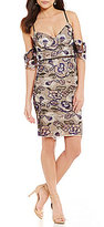 Gianni Bini Inga Two Tone Cold-Shoulder Lace Sheath Dress