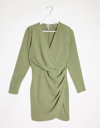 ASOS DESIGN long sleeve pleat front wrap mini dress in khaki