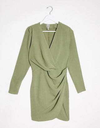 ASOS DESIGN long sleeve pleat front wrap mini dress in khaki
