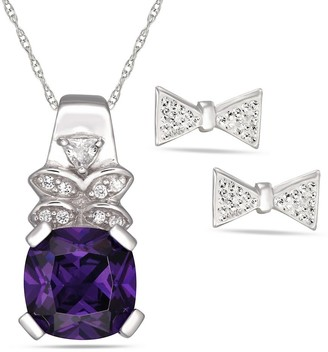 Forever Last Sterling silver Purple Bow Necklace Earring Set