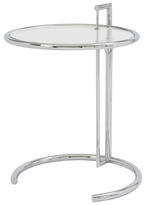 Euro Style Eileen Round Side Table in Clear Glass with Chrome Base