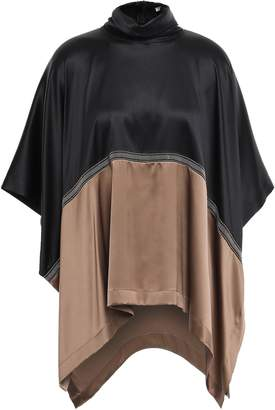 Brunello Cucinelli Bead-embellished Two-tone Stretch Silk-satin Top