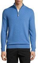 Neiman Marcus Cashmere Half-Zip Sweater, Blue Hydrangea