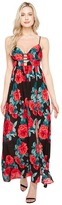 Brigitte Bailey Kenia Spaghetti Strap Rose Print Maxi Dress Women's Dress