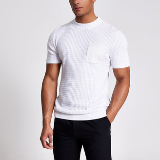 River Island Maison Riviera white knitted pocket T-shirt