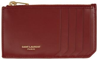 Saint Laurent Red Fragment Card Holder