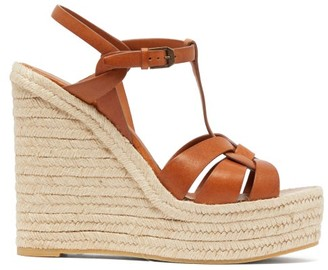 Saint Laurent Tribute Leather Wedge Espadrilles - Tan