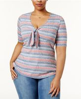 Almost Famous Trendy Plus Size Tie-Front Top