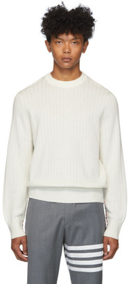 Thom Browne Off-White Variegated Rib Airmail Sweater