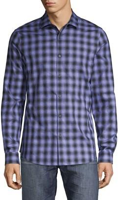 Pure Navy Checkered Long-Sleeve Shirt