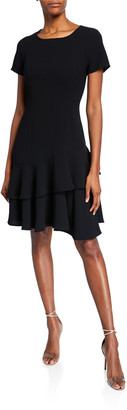 Shani Raglan-Sleeve Crepe Dress with Double Flounce-Hem