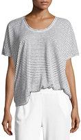 ATM Anthony Thomas Melillo Short-Sleeve Striped Linen Tee, White/Black