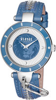 Versus By Versace 37mm Key Biscayne II Watch w/ Leather Zipper Strap, Blue