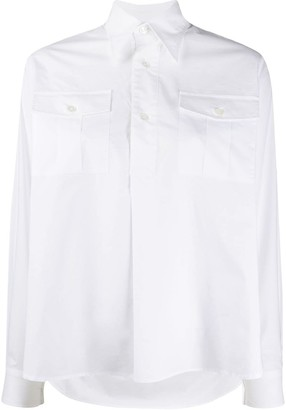 Plan C Cotton Pointed Collar Shirt