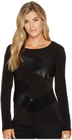 Calvin Klein Long Sleeve Faux Leather and Suede Mix Top Women's Clothing