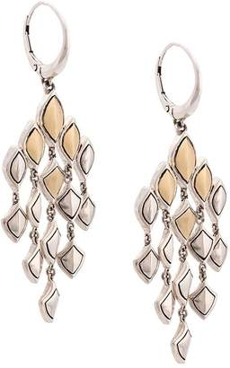 John Hardy 18kt yellow gold and sterling silver Naga chandelier earrings