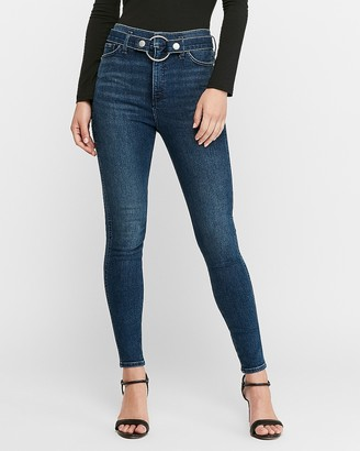 Express Super High Waisted Denim Perfect O-Ring Belted Ankle Skinny Jeans