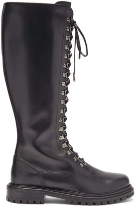 Aquazzura Combat Lace-up Leather Knee-high Boots - Black