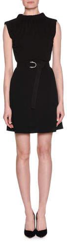 Giorgio Armani Stand-Collar Sleeveless A-Line Self-Belt Plisse Jersey Dress