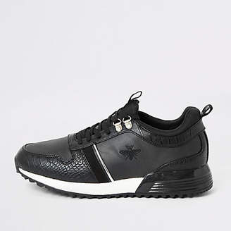 River Island Black croc embossed lace-up runner trainers