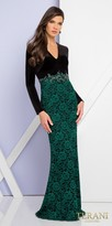 Terani Couture Long Sleeve Floral Beaded Column Dress