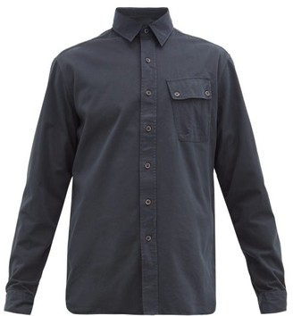 Belstaff Logo-patch Brushed Cotton-twill Shirt - Mens - Navy