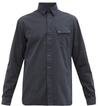 Belstaff Logo-patch Brushed Cotton-twill Shirt - Navy