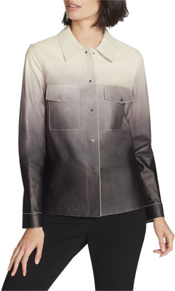 Lafayette 148 New York John Ombre Lambskin Leather Button-Front Jacket