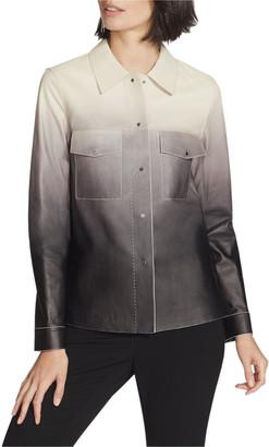 Lafayette 148 New York John Ombre Lambskin Leather Button-Front Jacket