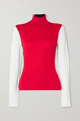 Erin Snow Masha Color-block Merino Wool Turtleneck Sweater - Red
