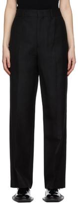 we11done Black Wool Wide-Leg Trousers