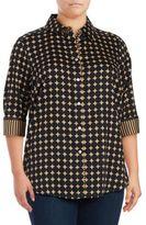 Foxcroft Plus Optic Dot Cotton Button-Down Shirt
