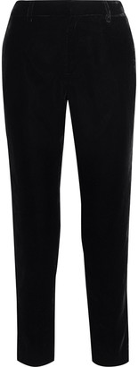 Iris & Ink + Laura Bailey The Lauren Satin-trimmed Velvet Slim-leg Pants