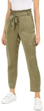 Bar III Elastic-Waist Belted Pants, Created for Macy's