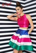 Mac Duggal Evening Gowns - 65715 Two Piece High Neck Dress In Lipstick Multi
