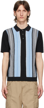 Beams Black Knit Stripe Polo