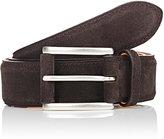 Barneys New York Men's Suede Belt-DARK BROWN