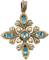 Konstantino Amphitrite Mixed-Cut Topaz & Pearl Cross Pendant Enhancer