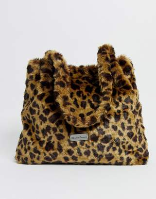 Claudia Canova fur tote bag in leopard print-Multi