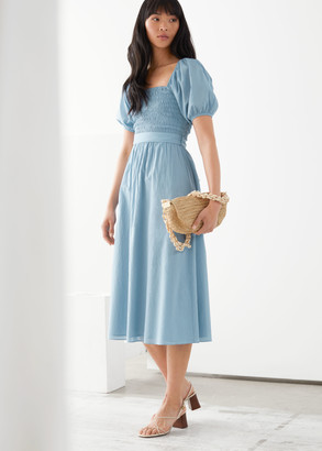 And other stories Belted Puff Sleeve Midi Dress