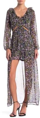 Material Girl Long Sleeve Floral Print Walk-Through Dress
