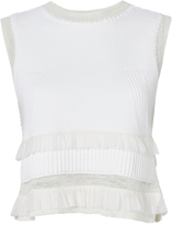 Derek Lam 10 Crosby Sleeveless Knit Frill Crop Top