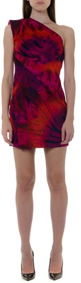 DSQUARED2 One Shoulder Short Cut Silk Dress