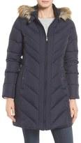 Larry Levine Women's Faux Fur Trim Hooded Jacket
