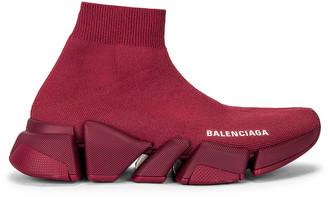 Balenciaga Speed 2 Light Sneakers in Dark Burgundy | FWRD